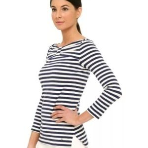 Kate Spade Striped 3/4 Sleeve Top Shirt Bow Sz Xs